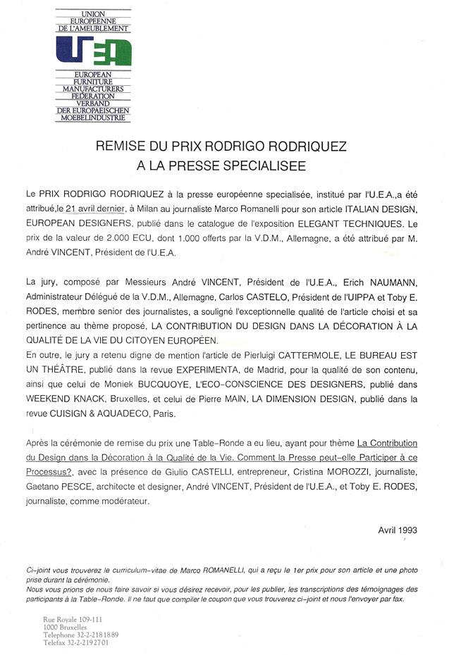 Premio Rodrigo Rodriquez UEA