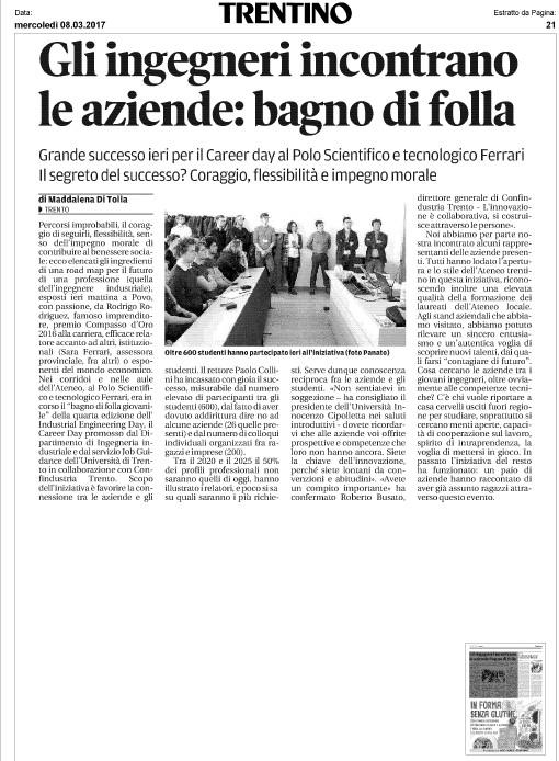 Trento - Gli ingegneri incontrano le aziende